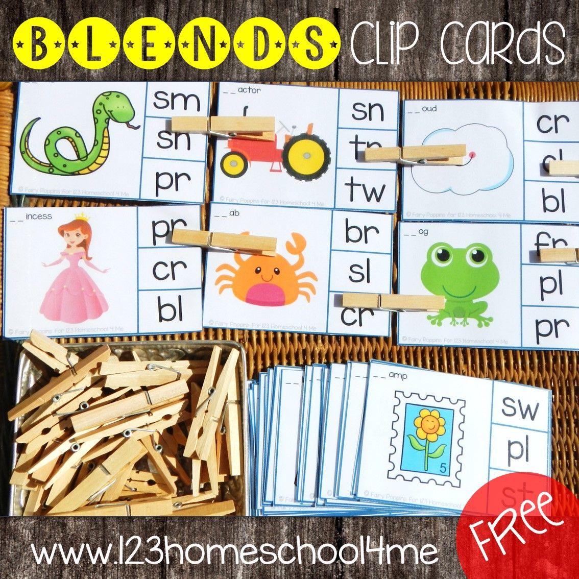 Consonant Blends Clip Cards
