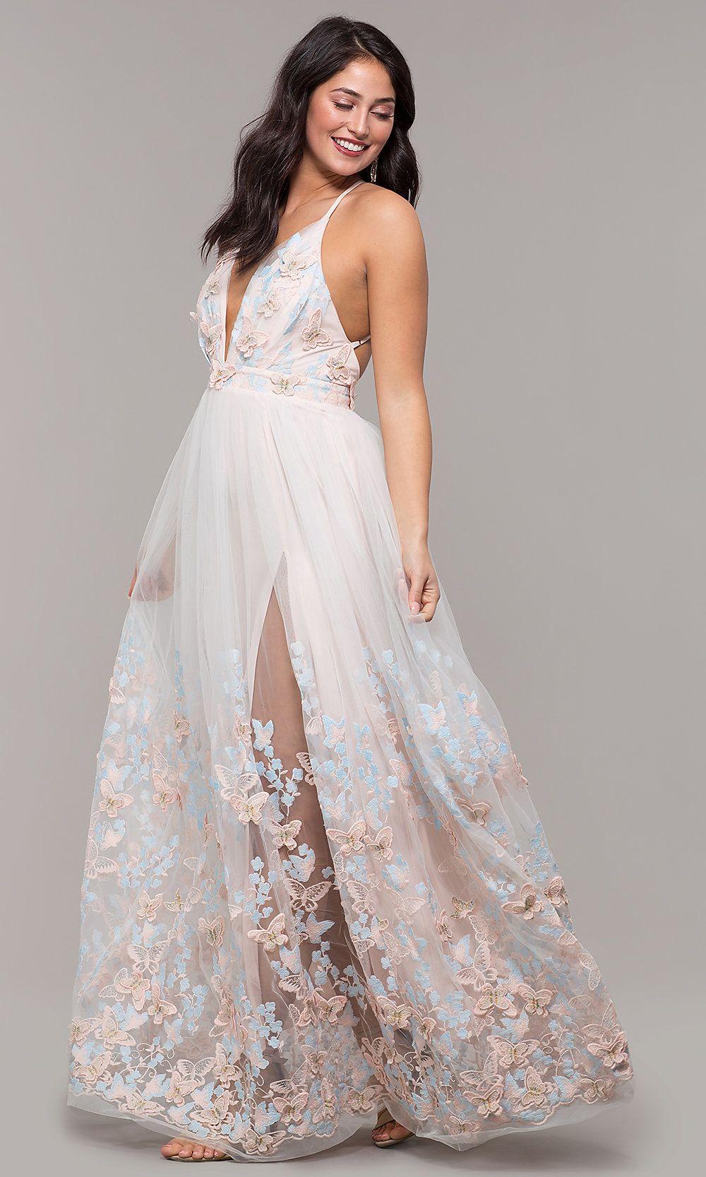 0c0a2461bbb Long V-Neck 3-D-Appliqued Prom Dress by Kalani Hilliker in 2019 ...