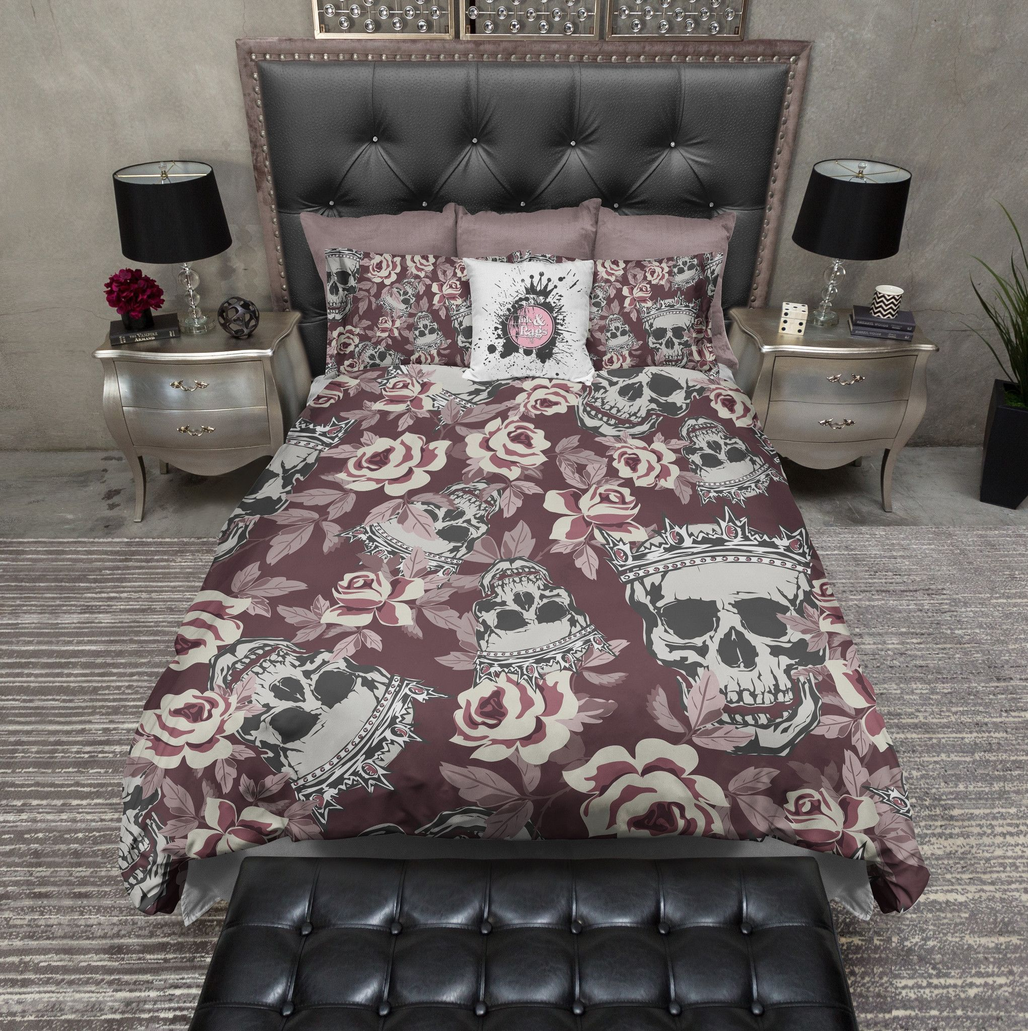 Fit For A King And Queen Rose Skull Duvet Bedding Sets Beddesign With Images Skull Bedding Black Bedding Duvet Bedding