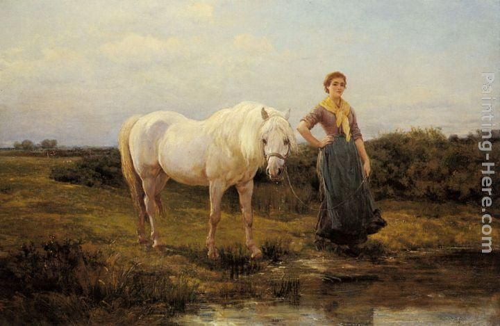 Woman leading horse to water by Heywood Hardy.
