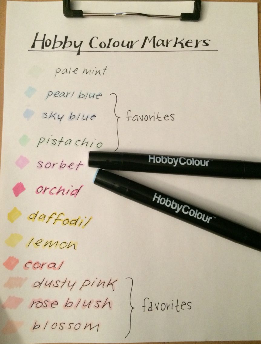 Hobby Colour Markers in Pastel!