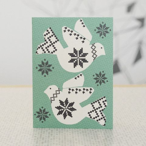 Scandinavian style Doves Christmas card pack – DOWSE