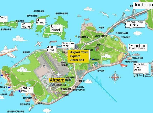 Incheon International Airport is located on a island over 13 miles