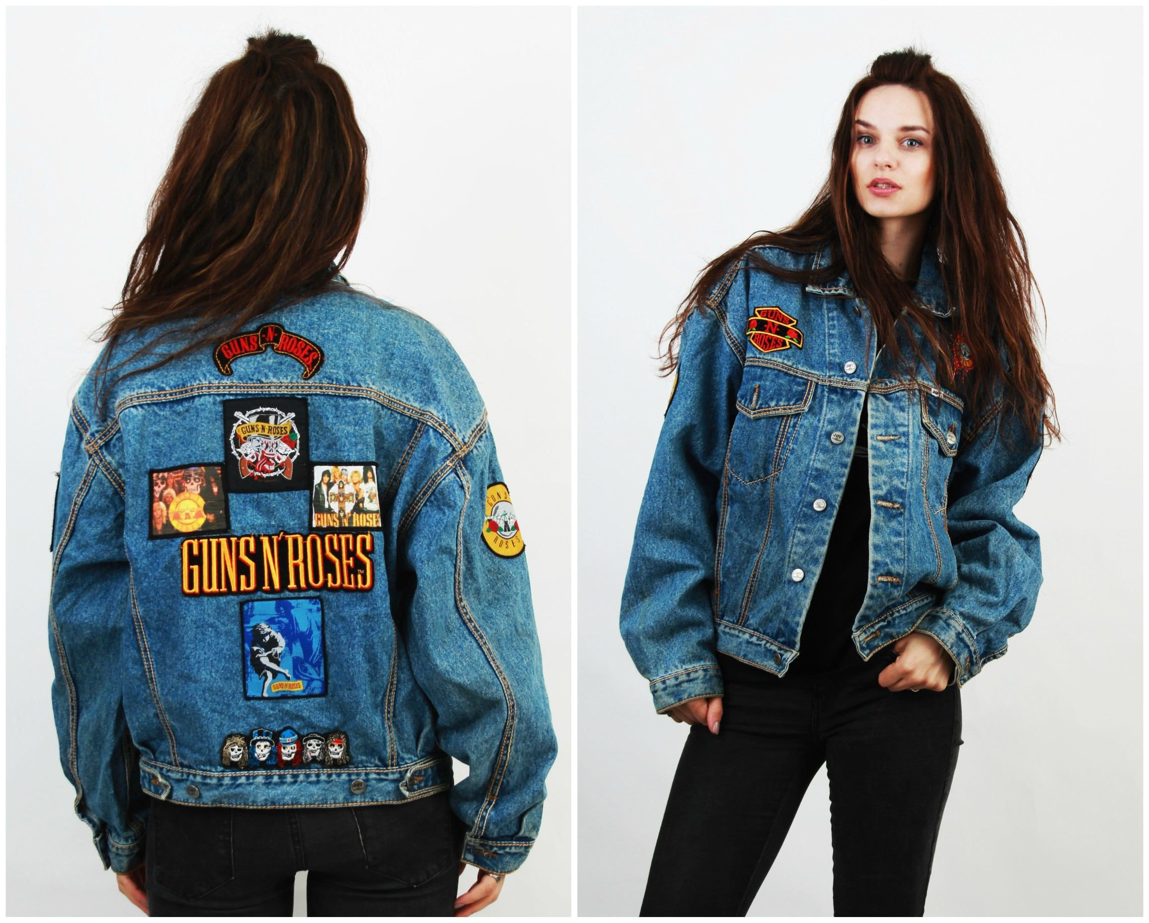 Reserved 90s goth clubkid black shiny pvc motorcycle biker jacket s - Guns N Roses Jacket Replica Axl Rose Gnr Jacket Patched Jacket Patch