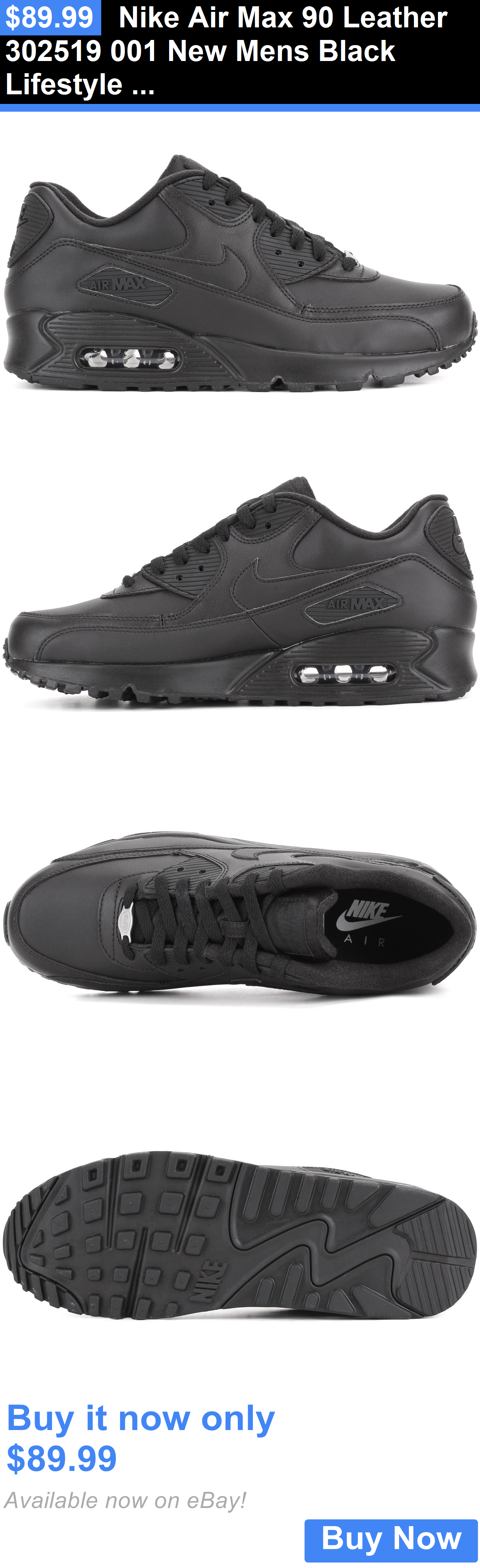 best loved fe6e5 2283a Men Shoes  Nike Air Max 90 Leather 302519 001 New Mens Black Lifestyle  Running Casual