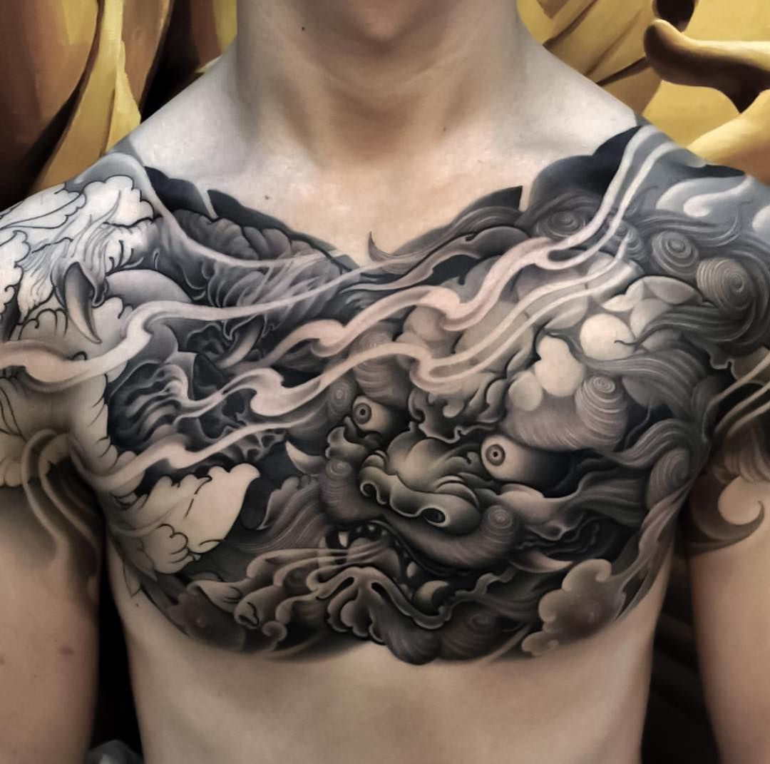 Japanese Ink On Instagram Japanese Chest Tattoo By Zhanshan Tattoo Japaneseink Japanesetattoo Tattoos For Guys Japanese Tattoo Designs Japanese Tattoo