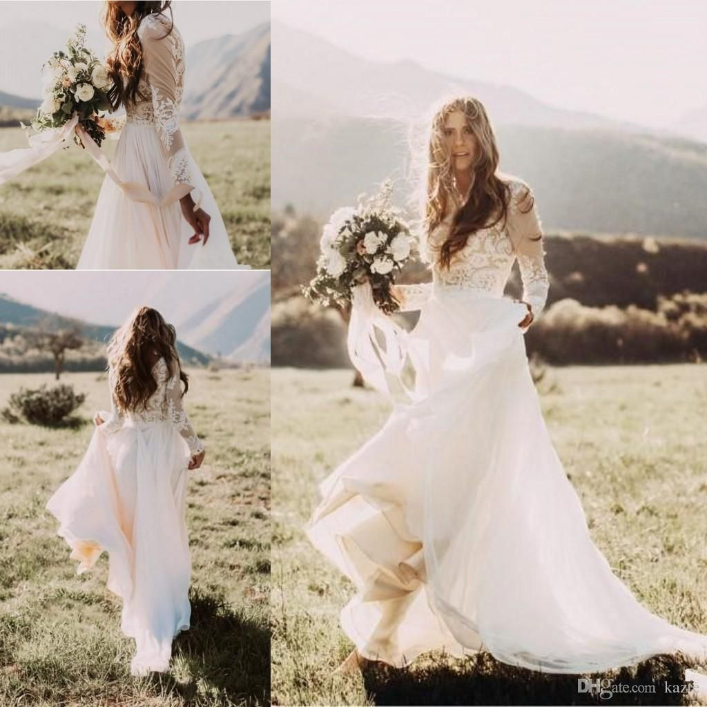 Bohemian Country Wedding Dresses With Sheer Long Sleeves Bateau Neck A Line Lace Applique Chiffon Wedding Dresses Lace Bridal Gown Cheaper Bridal Gowns Vintage