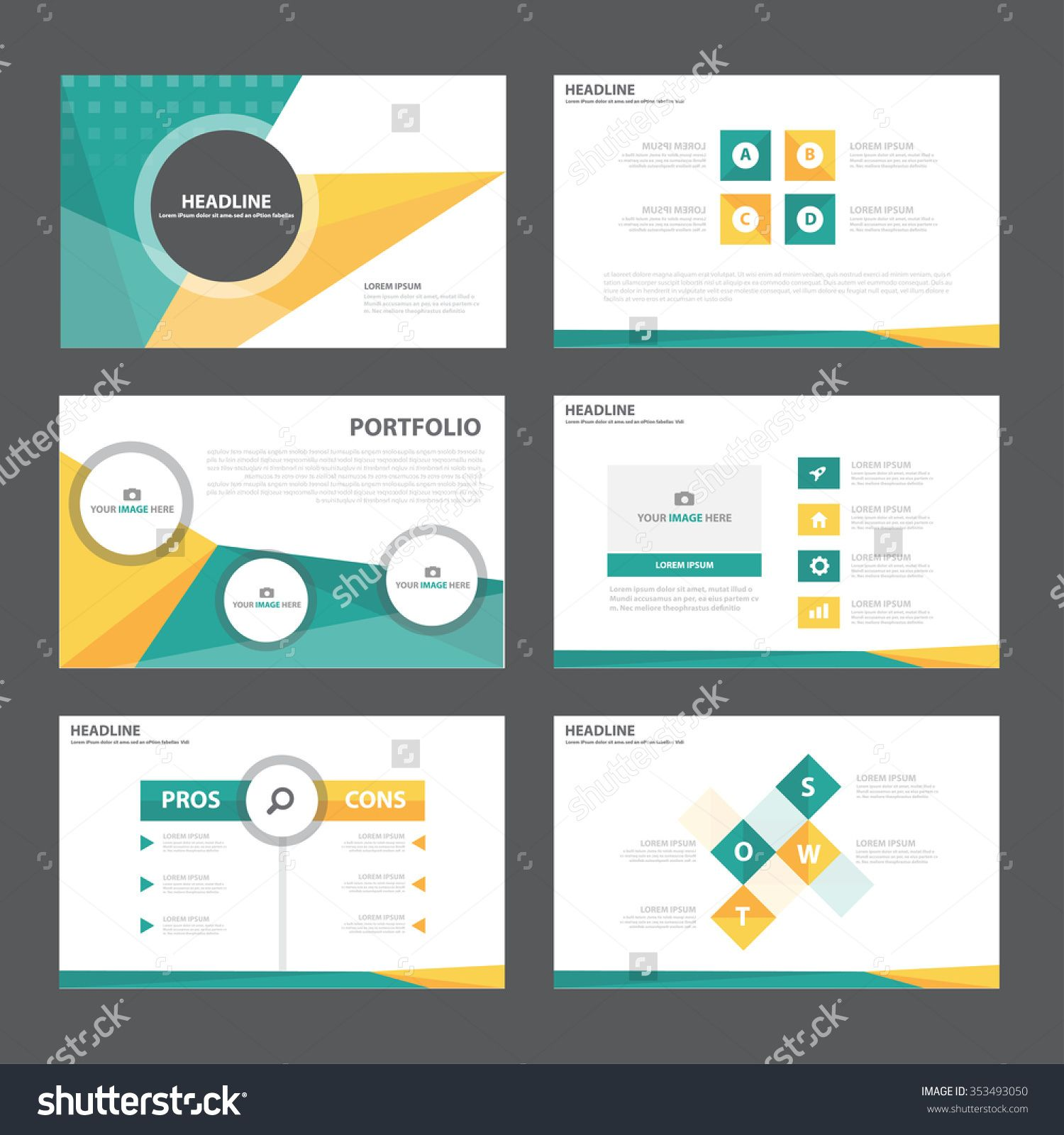 Green Orange Presentation Template Infographic Elements Flat