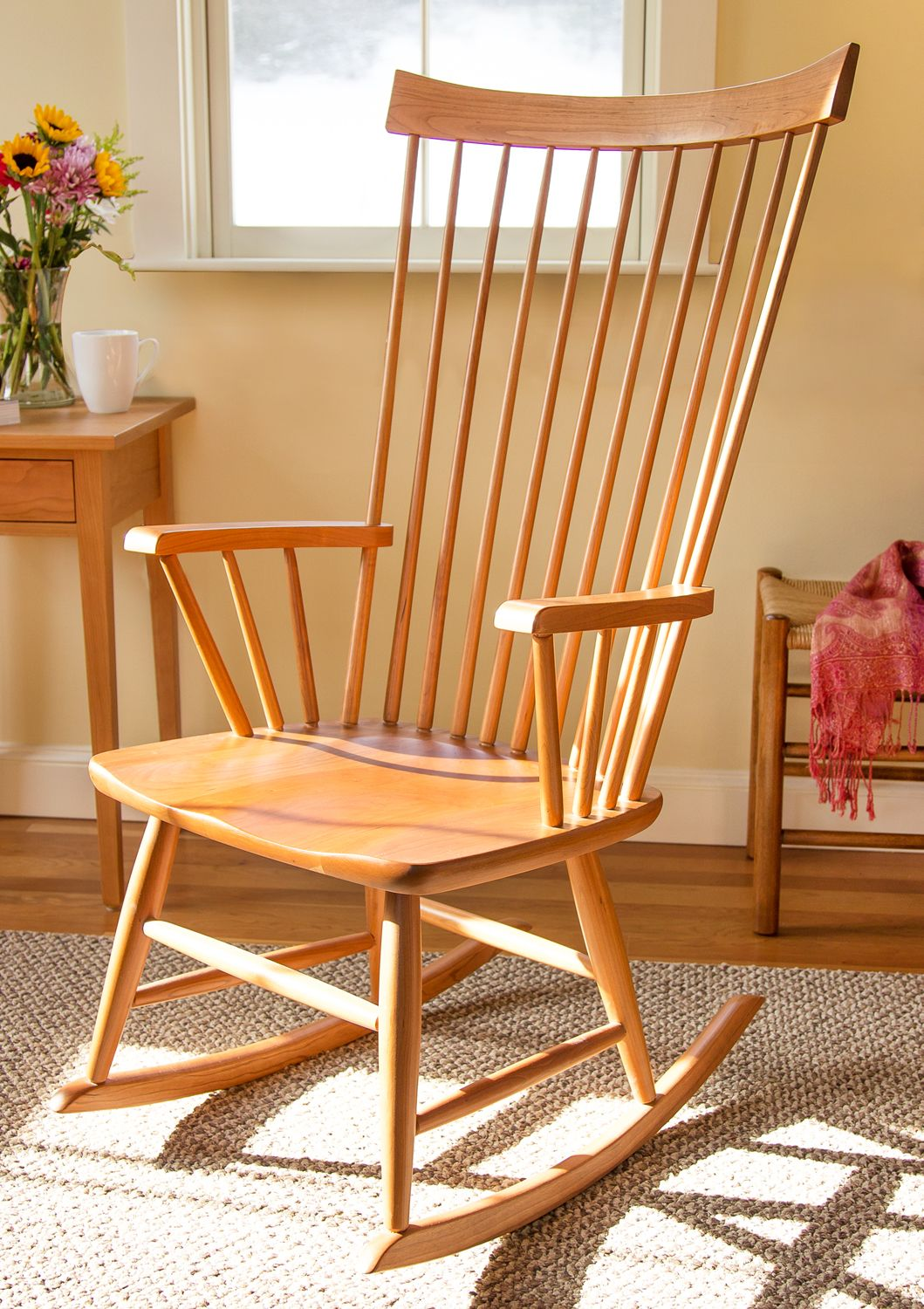 Windsor Style Rocking Chair, Cherry Wood Furniture. Made In Vermont By  Local Craftsmen.