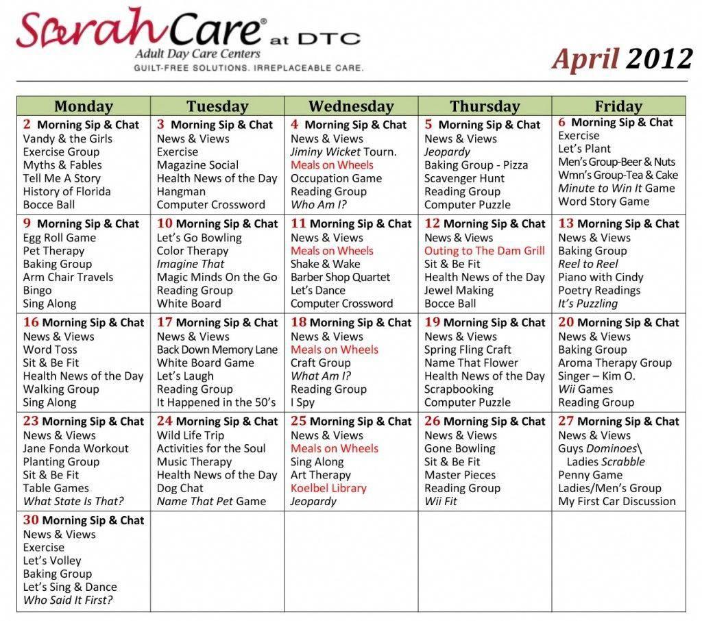 April 2012 Activity Calendar Small Sarahcare.com