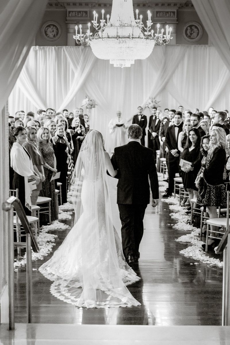 Bride with Father Walking Down the Aisle | Photo: Vue Photography. View More:  http://www.insideweddings.com/weddings/destination-ballroom-wedding-featuring-timeless-decor-in-atlanta/925/