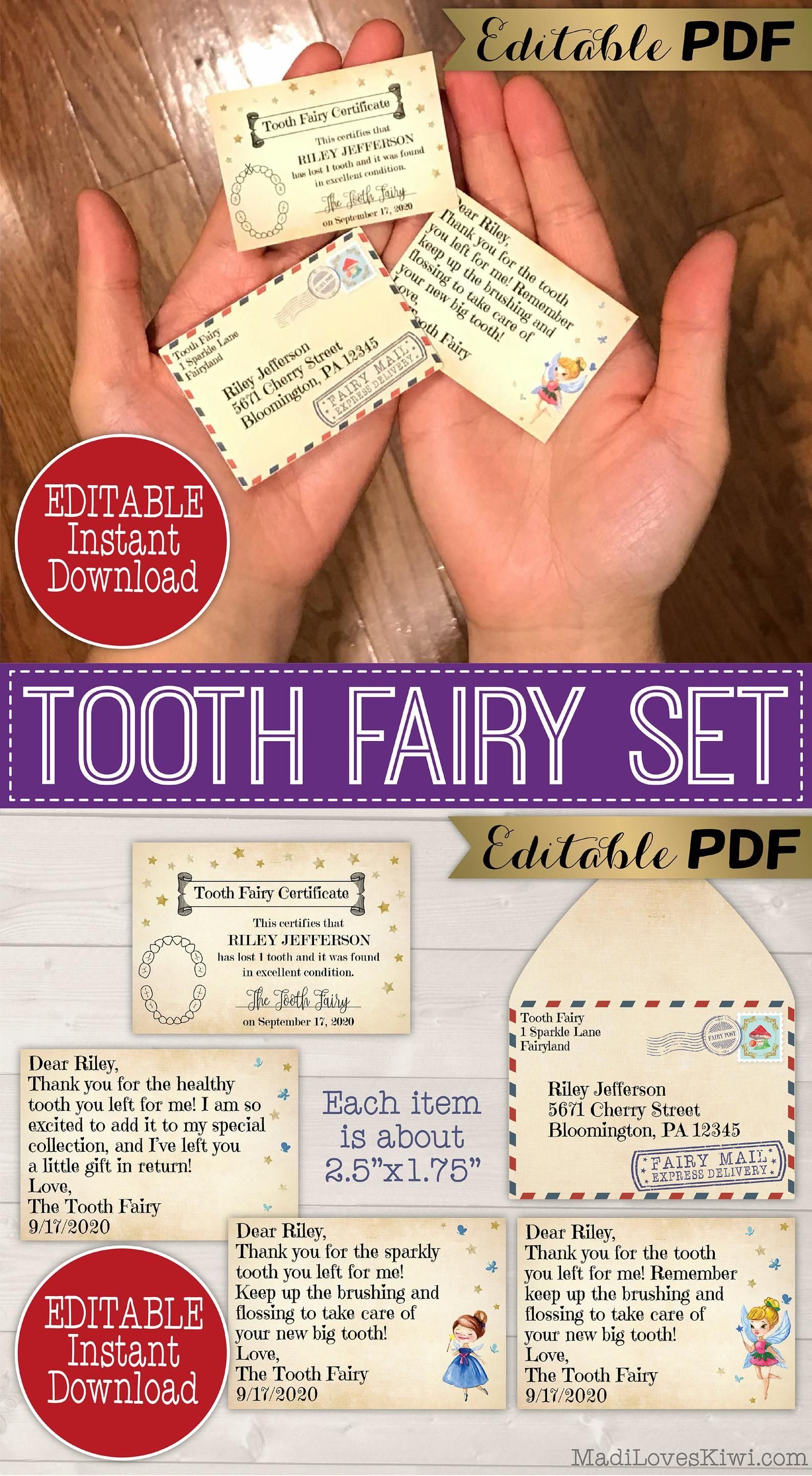 Vintage Printable Tooth Fairy Letter Envelope Mini Lost Tooth Certificate Pdf Template Editable Mail Idea Receipt Download First Report In 2021 Tooth Fairy Letter Tooth Fairy Certificate Tooth Fairy Letter Template