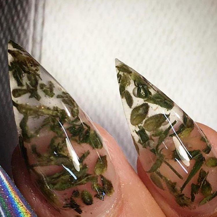 Weed Nail Art Using Actual Marijuana | POPSUGAR Beauty | Nails ...
