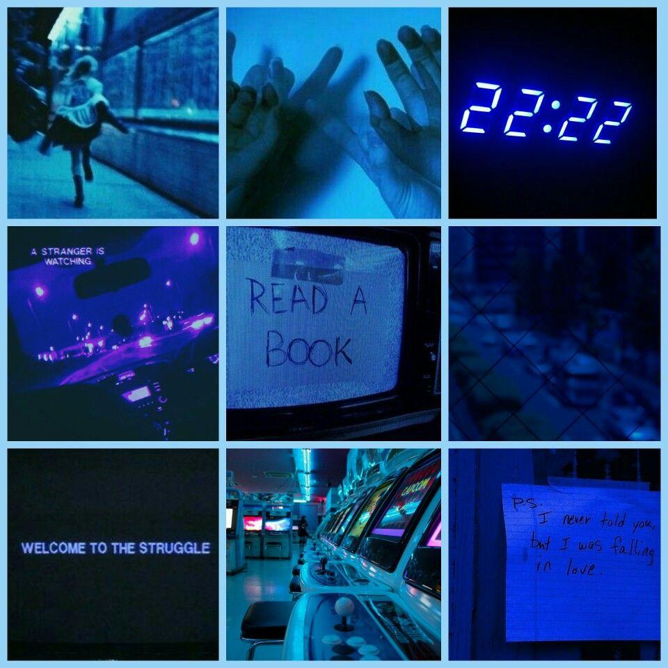 Blue Grunge Dark Static Light Neon