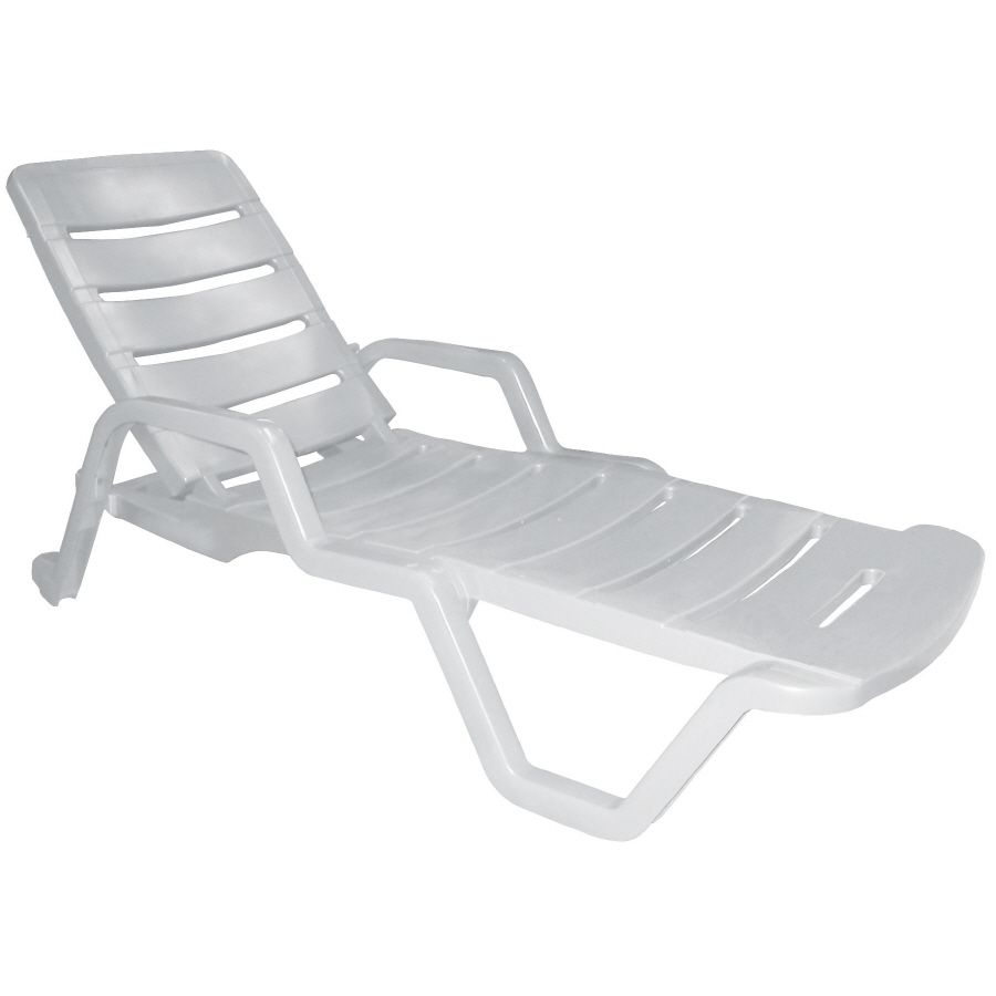Shop Adams Mfg Corp White Resin Stackable Chaise Lounge Chair At