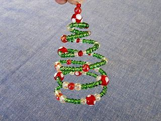 Diy Spiral Beaded Christmas Tree Ornament Beaded Christmas