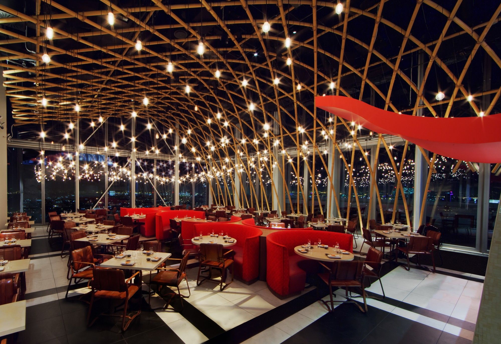 Sushisamba Just Below Duck Waffle 38th And 39th Floor In The Heron Tower Building Has Outdoor Bar Design Restaurant Bar Design Awards Luxury Restaurant