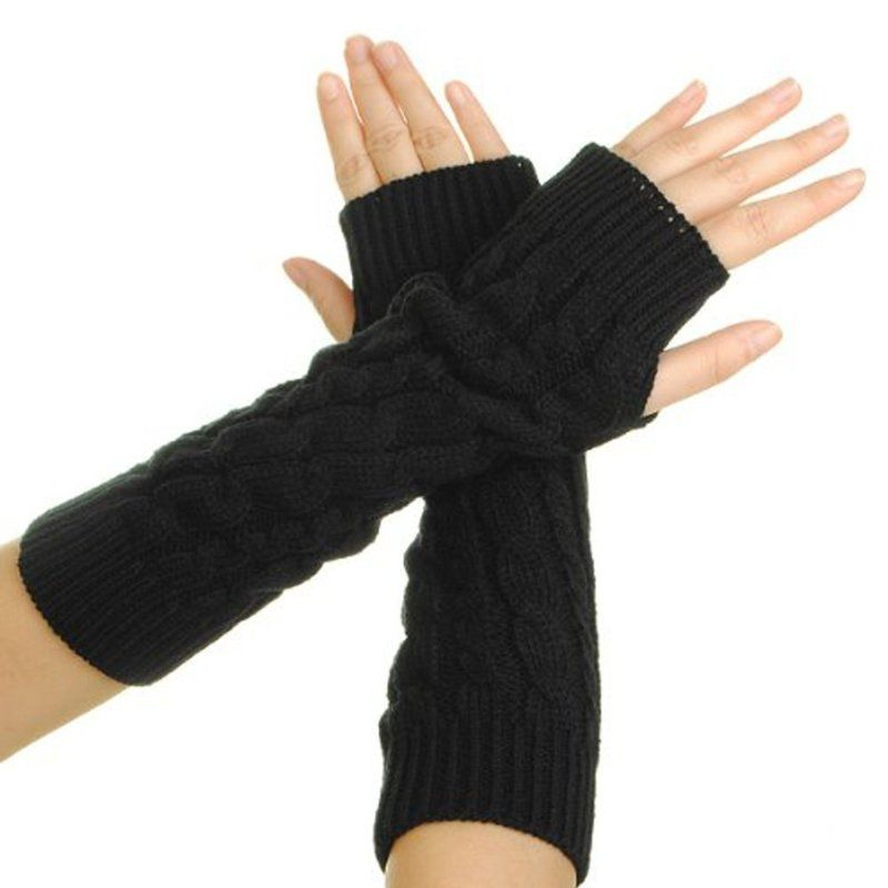 Womens Scale Design Winter Warm Knitted Long Arm Warmers Gloves