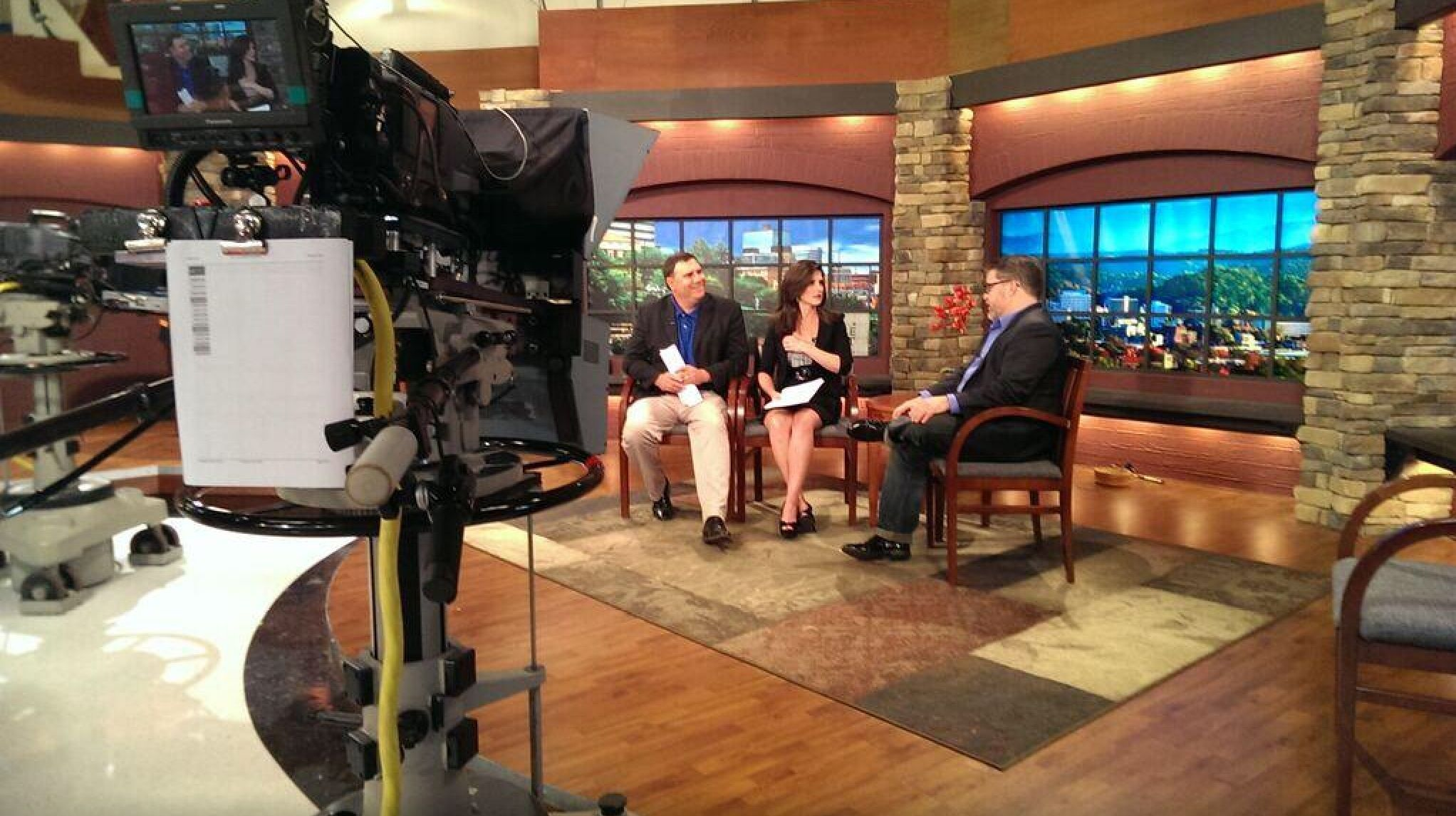 Knoxville Music & Film Festival director Michael Samstag wearing our mens denim jeans on Live at Five at Four on Knoxville WBIR Channel 10