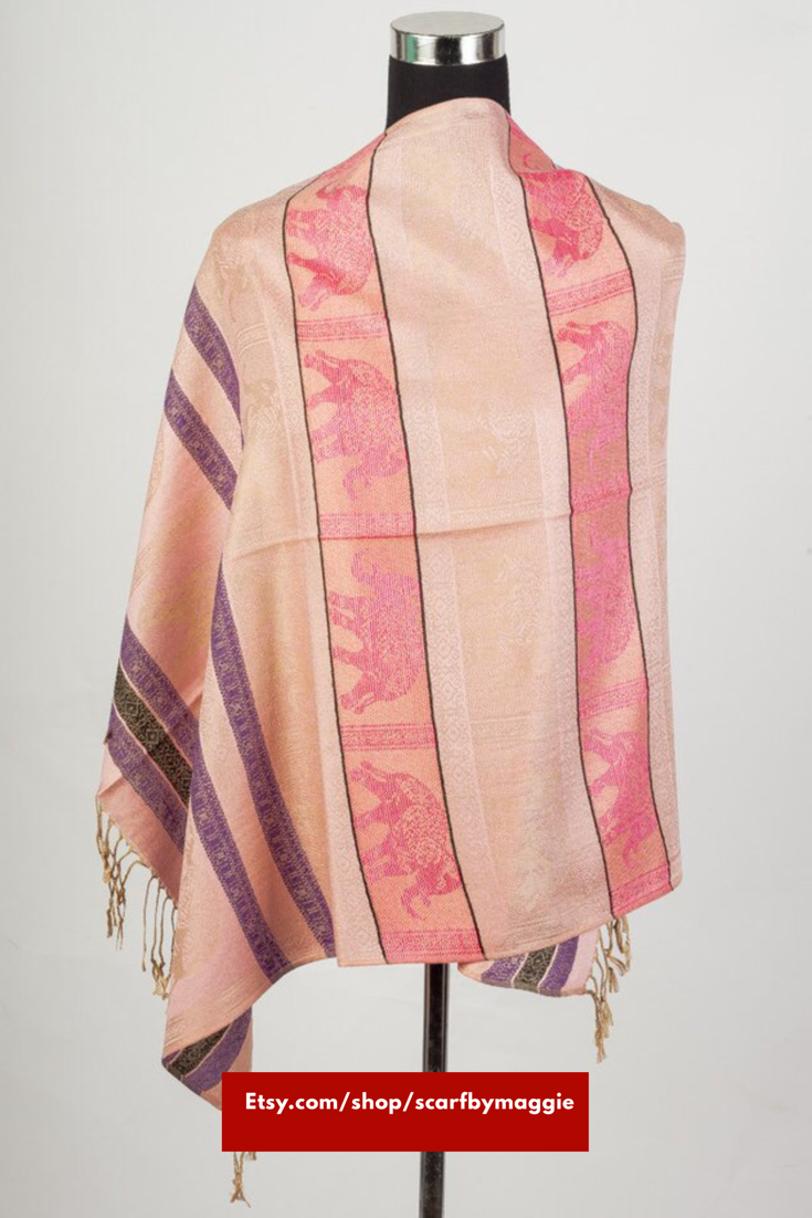 Thai Inspired Elephant Print Pashmina Shawl Scarves Available on at ...