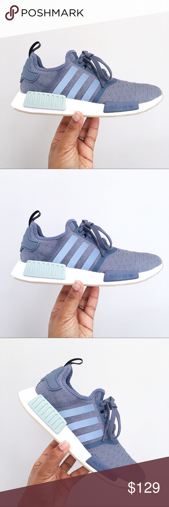 2729aea40736f Adidas NMD R1 Blue Raw Steel   Cloud White Women Brand New in Box with Lid  🙌🏽 - Beautiful and extremely comfortable Steel Cloud White Blue Adidas  NMD R2 ...