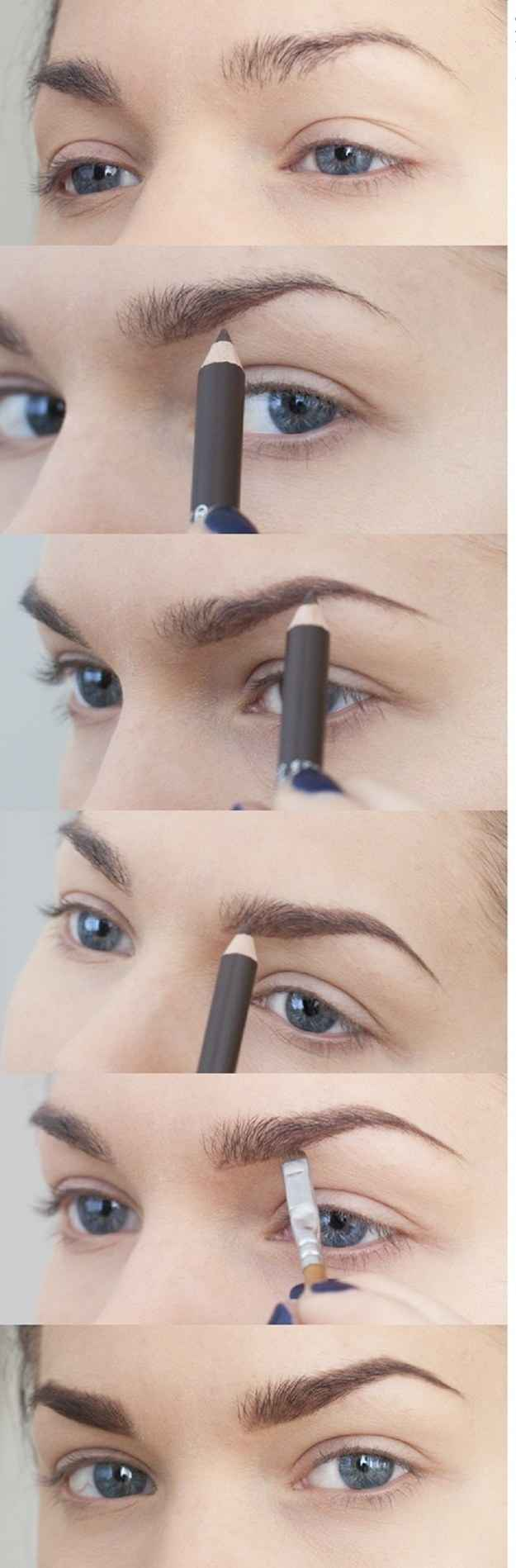 Fill in thin brows with a pencil or use brow powder and a brush.