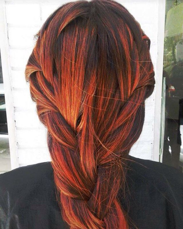 Black With Orange Highlights Orange Highlights Auburn Hair With Highlights Long Hair Color