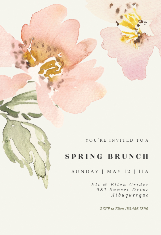 Garden Roses Brunch Lunch Invitation Template Free Greetings Island Rose Wedding Invitations Watercolor Wedding Invitations Cheap Wedding Invitations