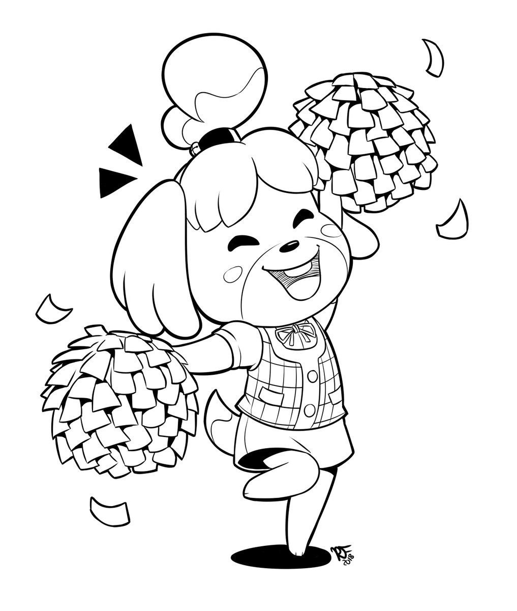 Isabelle Animal Crossing Fan Art Animal Crossing Characters Cute Coloring Pages