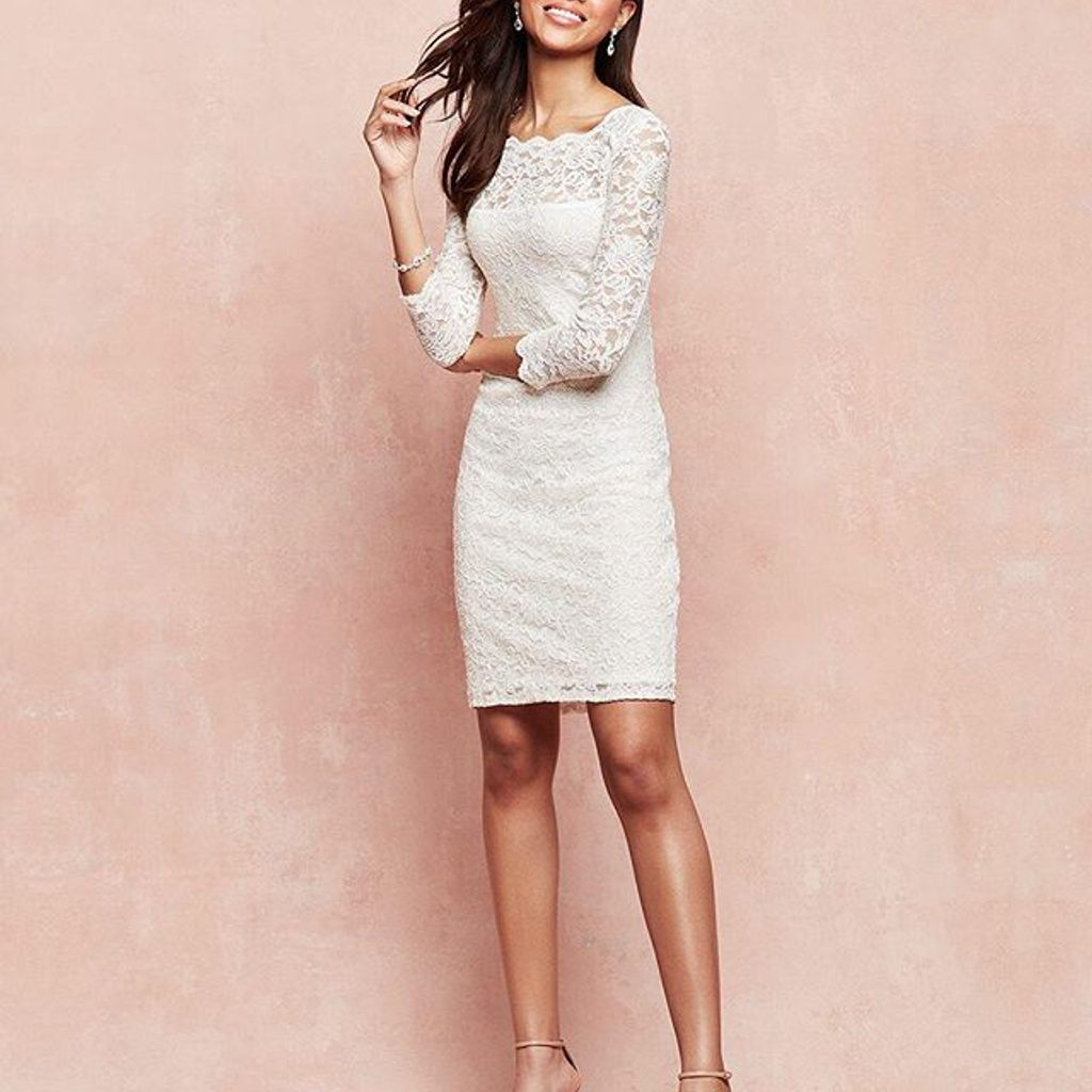 3 4 Sleeve Illusion Lace Cocktail Dress David S Bridal Cocktail Dress Lace Elegant Cocktail Dress Cocktail Dresses With Sleeves [ 1024 x 1024 Pixel ]