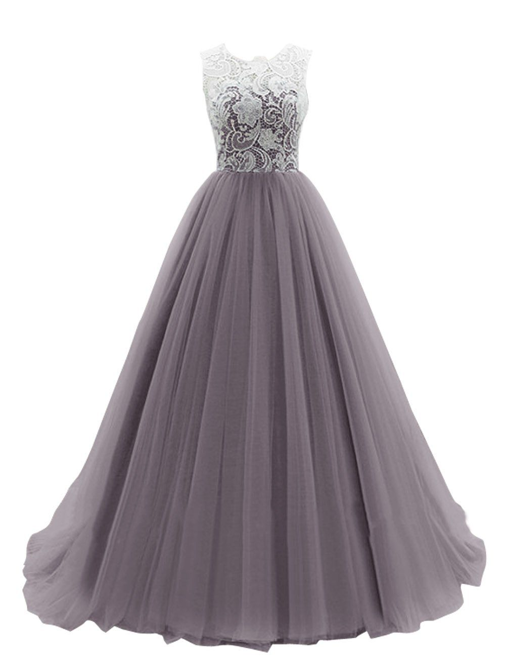 Dresstells womenus long tulle prom dress dance gown with lace grey