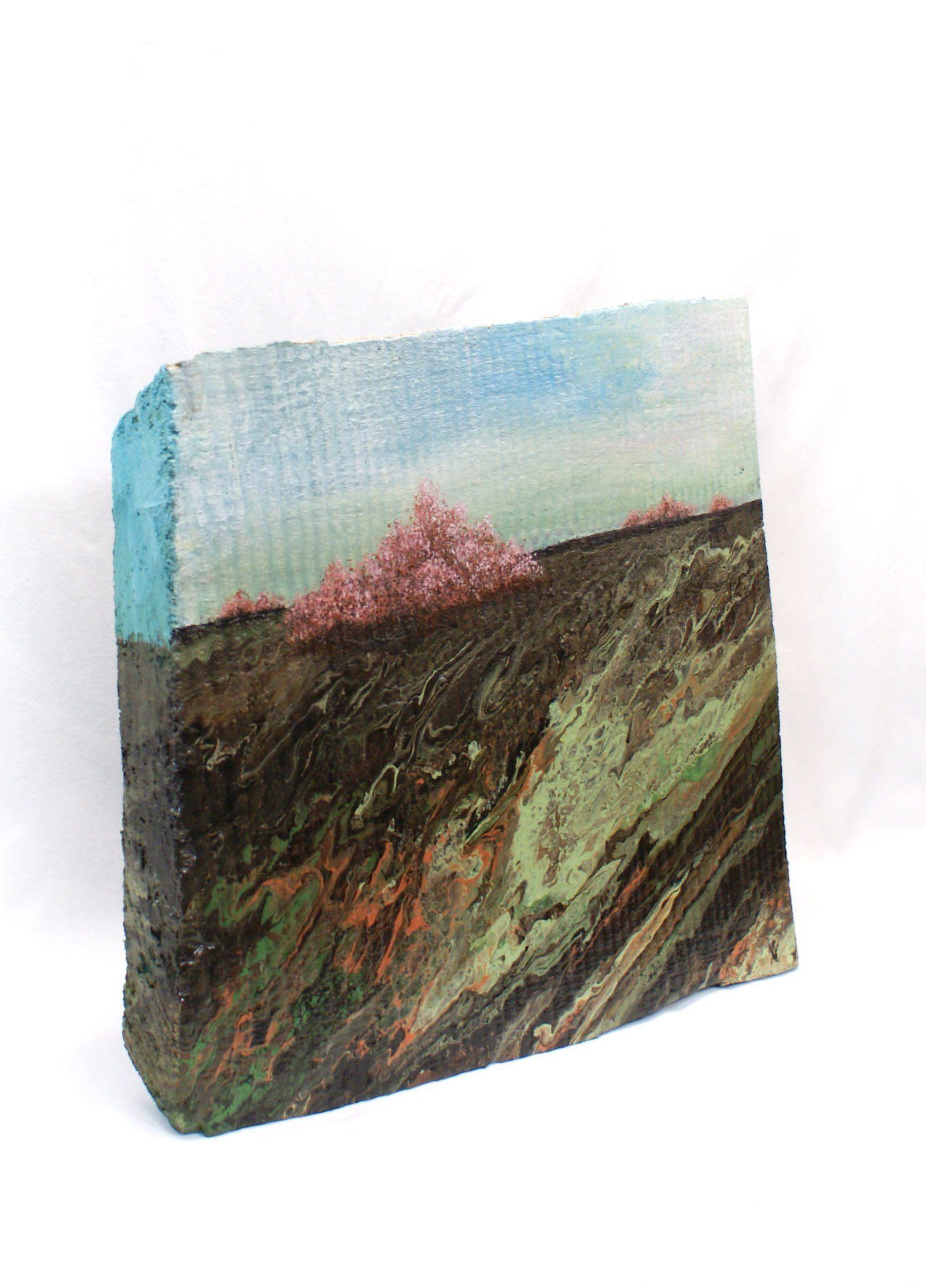 Kleines Holz Bild Mit Landschaft Abstrakte Malerei Erdschichten