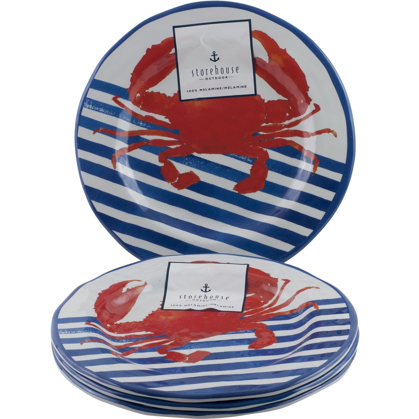 Plates 36030 Storehouse Outdoor Red Crab Salad Melamine Plates Set Of 4 Striped Nautical -  sc 1 st  Pinterest & Plates 36030: Storehouse Outdoor Red Crab Salad Melamine Plates ...