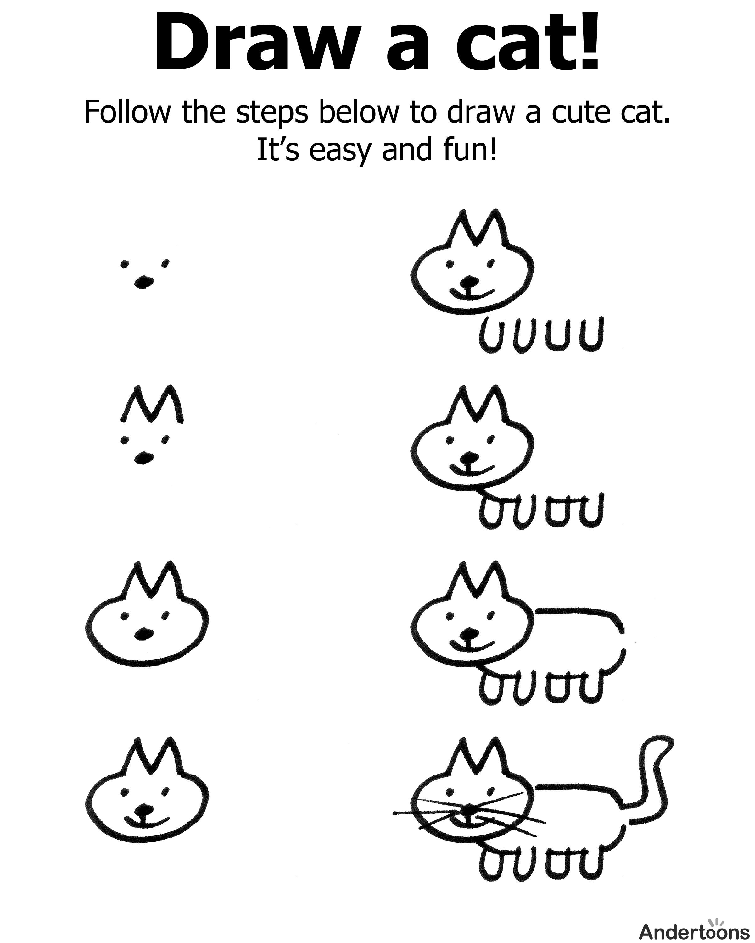 free downloadable kid friendly page showing you how to draw a cute cartoon cat - Cartoon Drawings For Kids Free