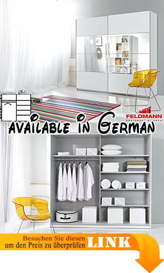 B00UACLJI0  Schwebetürenschrank Kleiderschrank 2-türig 54025 weiß - schlafzimmerschrank weiß hochglanz