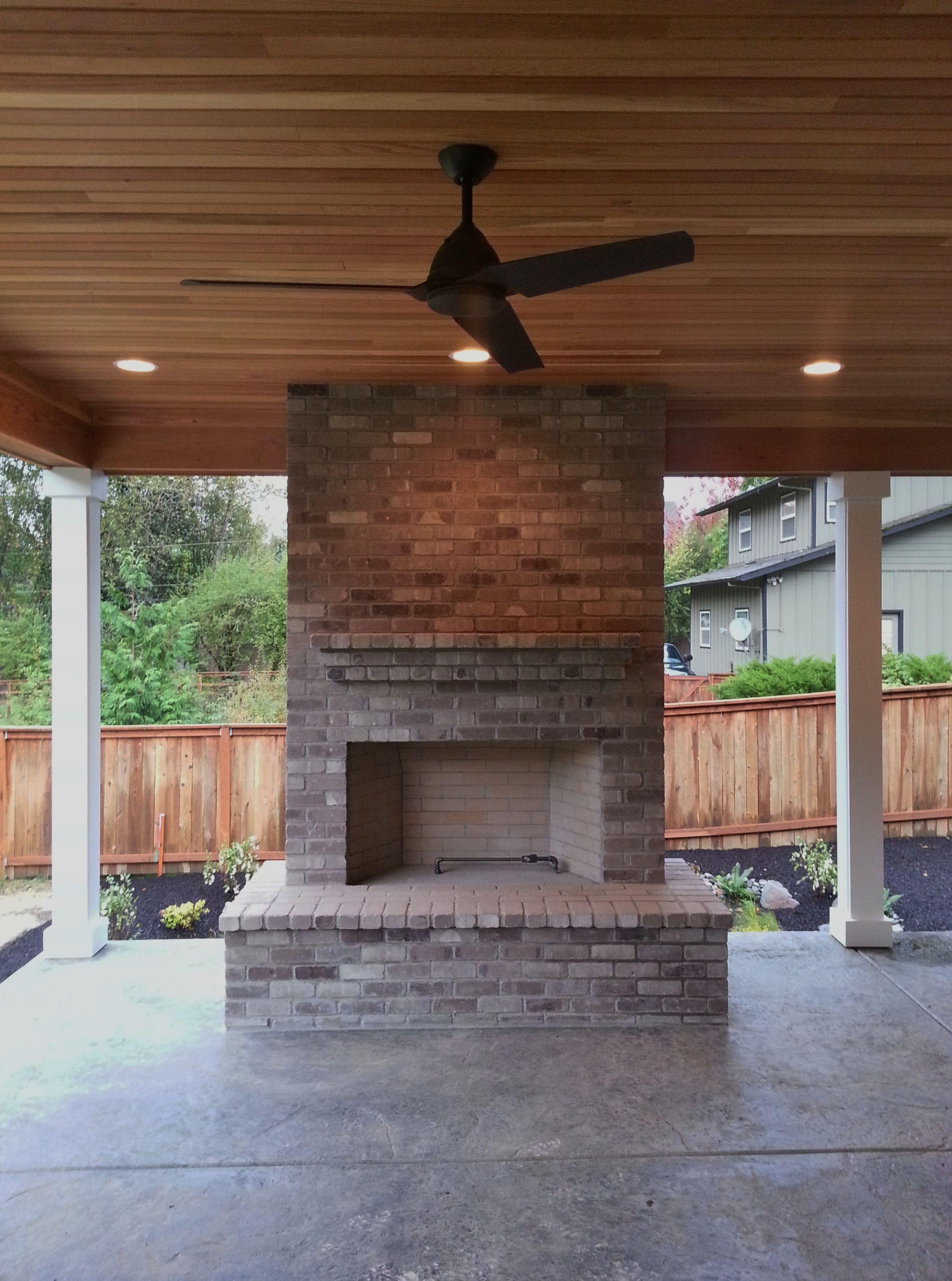 Outdoor Fireplace Brick Gray Brick Outdoor Living
