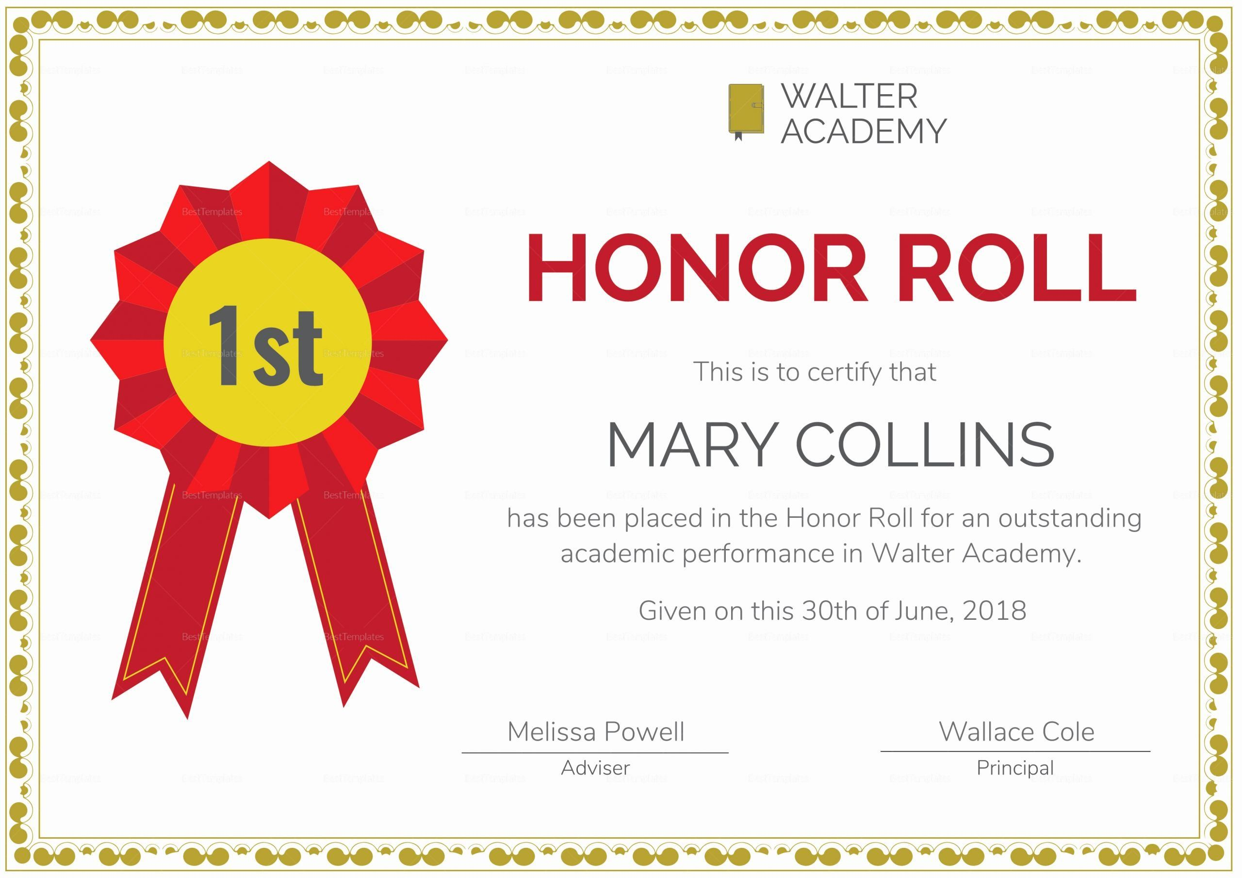 Honor Roll Certificate Template Free Beautiful Honor Roll