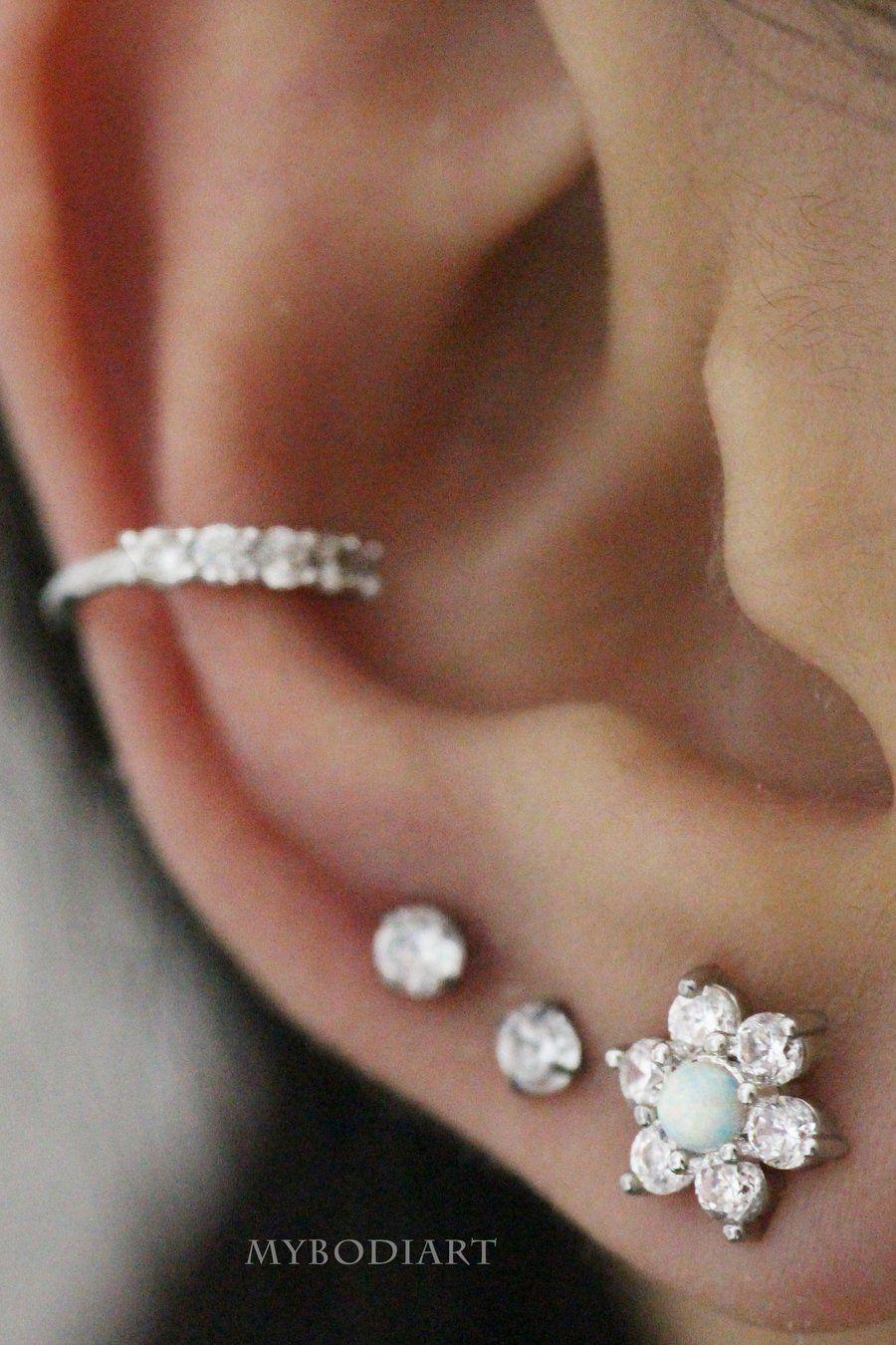 e266e4fc0 Unique & Cute Ear Piercing Jewelry Ideas for Women - Crystal Opal Star  Flower Earring Stud for Cartilage, Helix, Tragus, Conch, Ear Lobe - www.