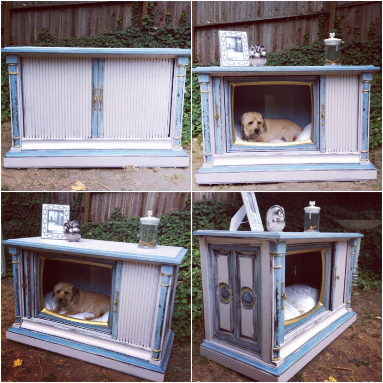 Old Tv Console Turned Dog Bed. Doggie Bed, Diy Dog Bed, Painted,  Distressed, Shabby Chic, Vintage
