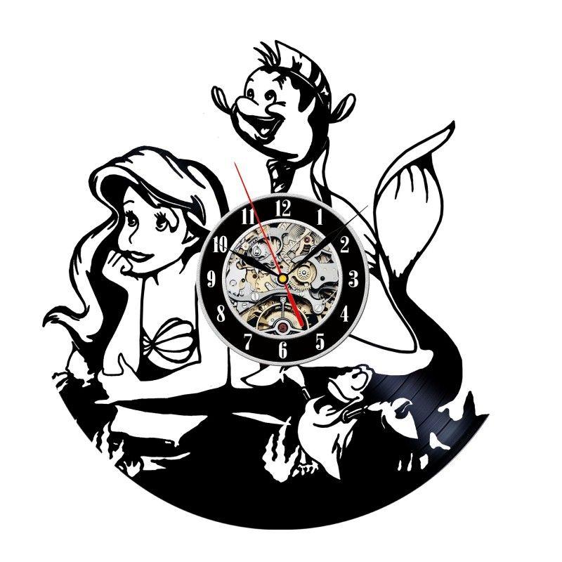 Little Mermaid Clock Made Out Of A Vinyl Record Disney Pinterest