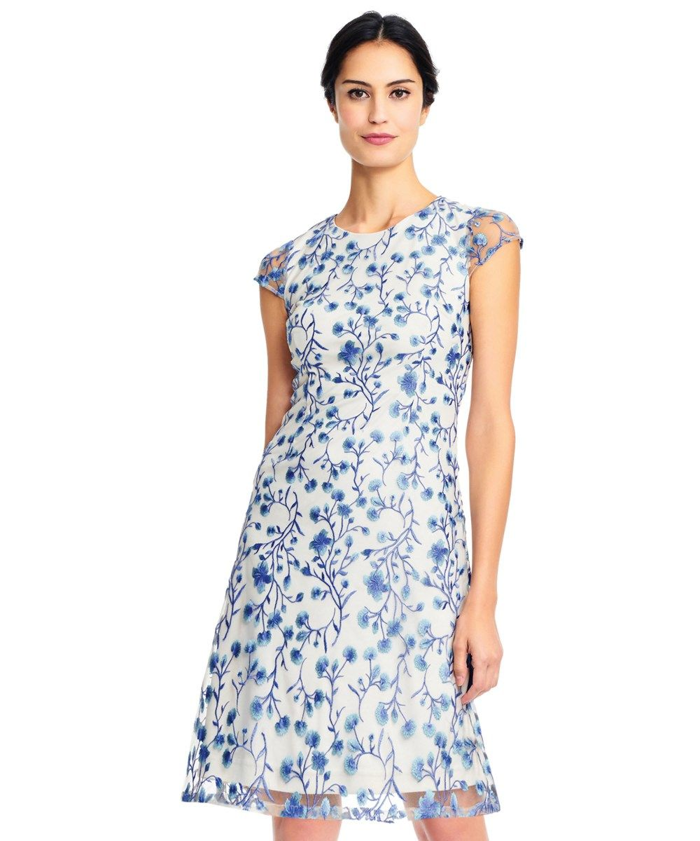 05921126b329 Adrianna Papell Adrianna Papell Floral Vine Embroidered Dress With Cap  Sleeves