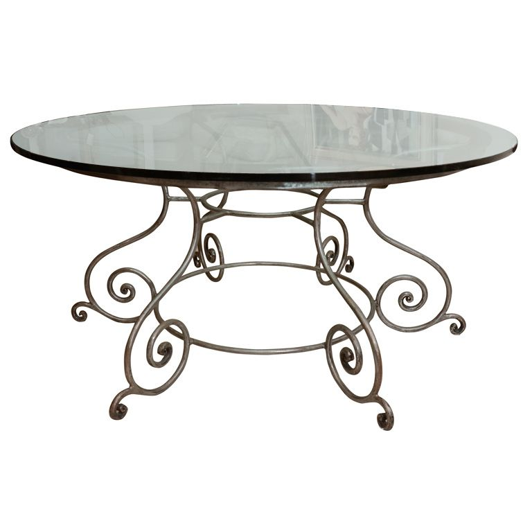 Round Glass Top Dining Table With Attractive Wrought Iron Base From A Unique Collection Of Ant Dining Table Round Glass Table Top Glass Table Top Replacement