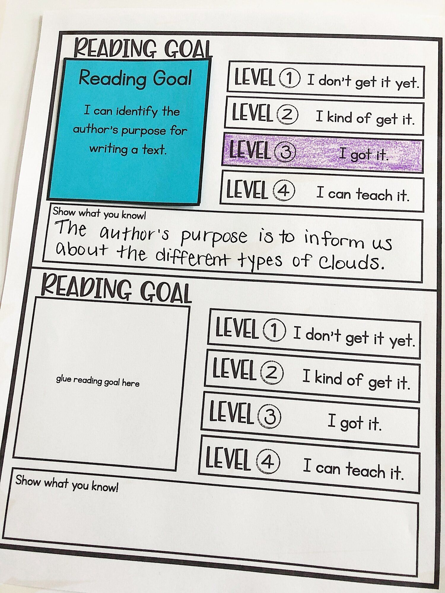 Check for Understanding through Student Goals and Self