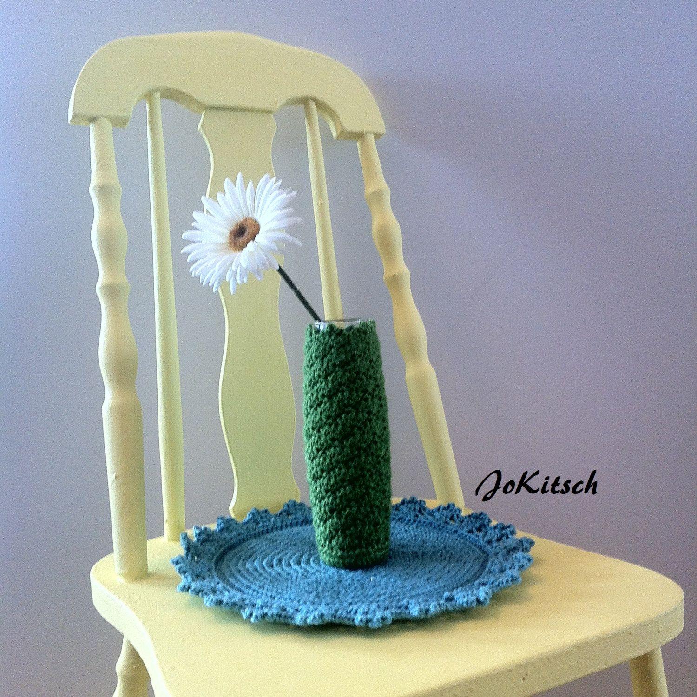 Crocheted Bud Vase in Apple Green by JoKitsch on Etsy