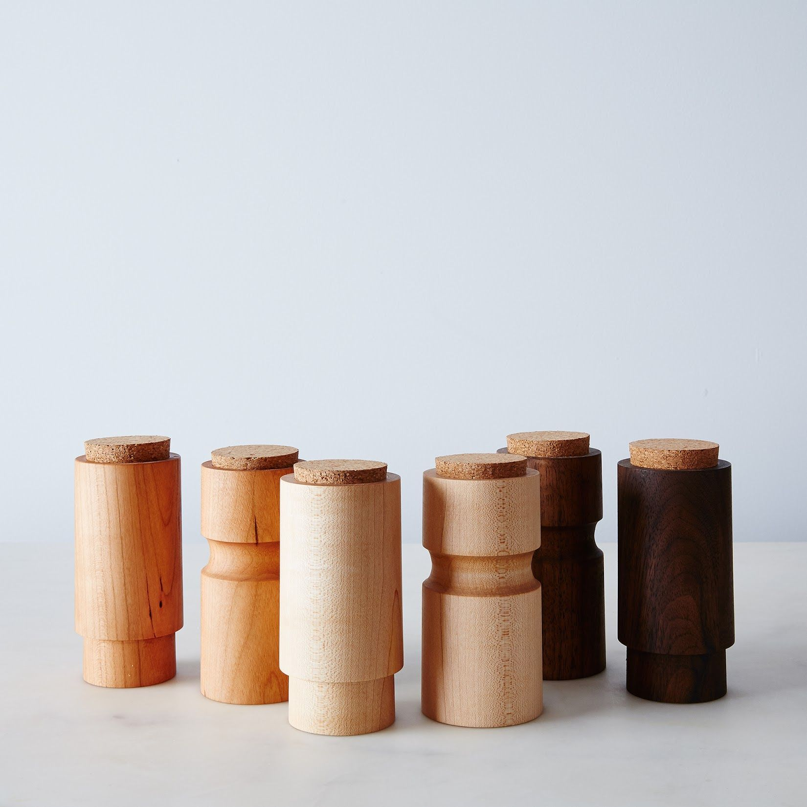 Turned Wooden Spice Jars (Set Of 2)  Canister