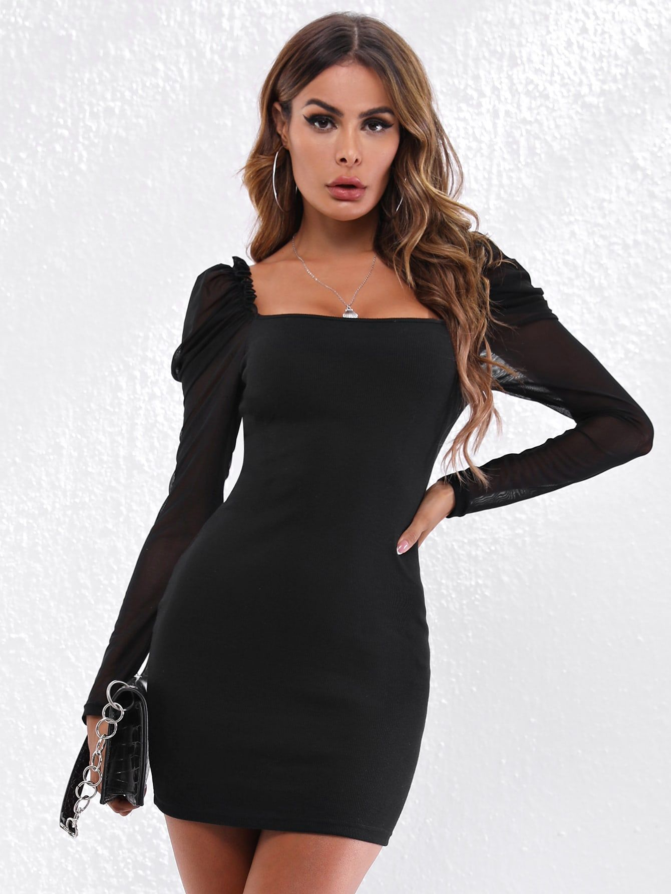 Sheer Sleeve Bodycon Dress In 2021 Bodycon Dress Bodycon Dress With Sleeves Tight Dresses [ 1785 x 1340 Pixel ]
