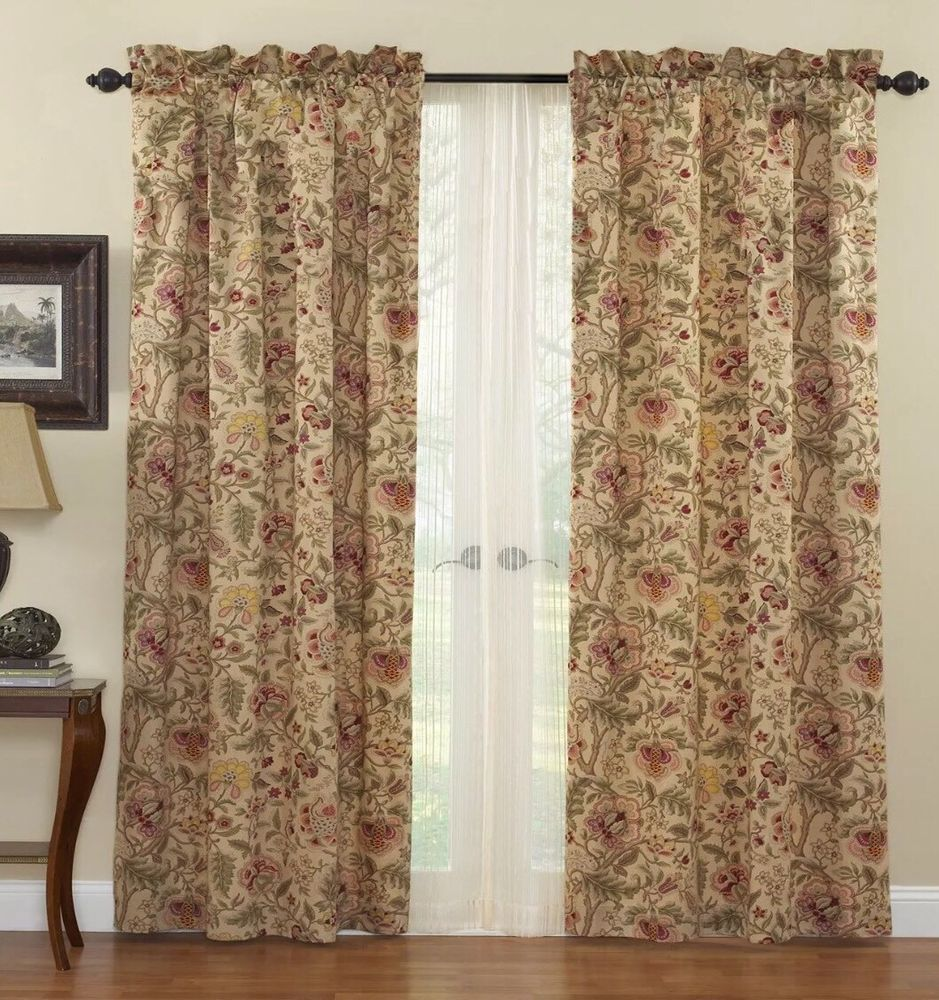 Waverly Imperial Dress Curtain Panels Tan Red Yellow Green 42 X87