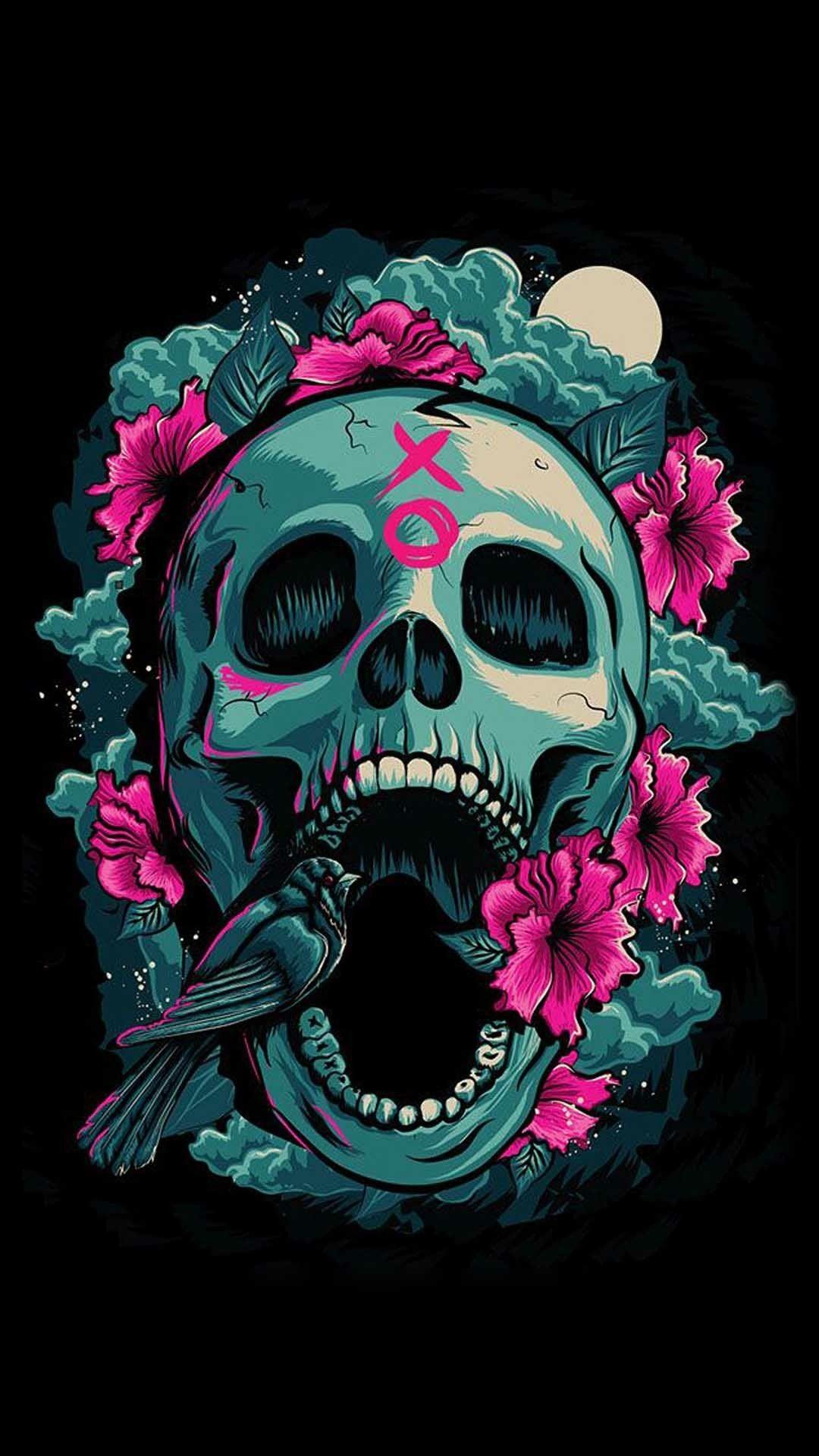 1080x1920 Flower Skull, Skull Art, Sugar Skulls
