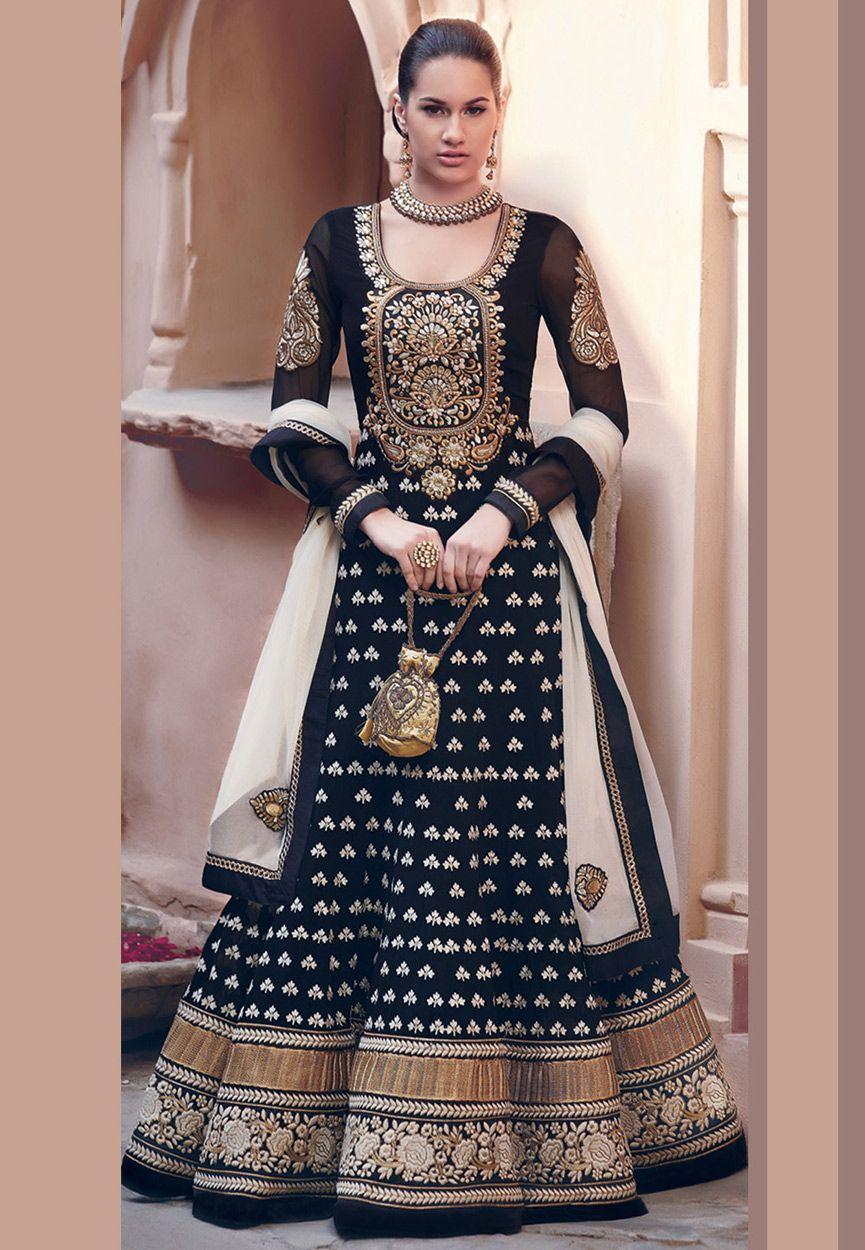 Black faux georgette abaya style churidar kameez online shopping