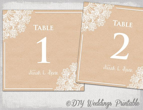Wedding Table Number Template DIY Rustic By Diyweddingsprintable - Wedding table numbers template